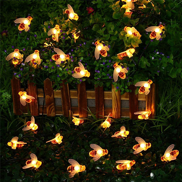 Solar Powered Led Lights Garland Pretty Bee 50 leds Lights Garland Outdoor Garden Bee Fence Christmas Lights for Patio