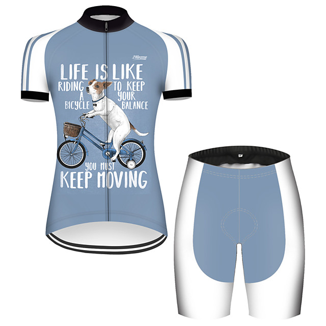 21Grams Women's Short Sleeve Cycling Jersey with Shorts Nylon Polyester Blue / White Dog Animal Funny Bike Clothing Suit Breathable 3D Pad Quick Dry Ultraviolet Resistant Reflective Strips Sports Dog