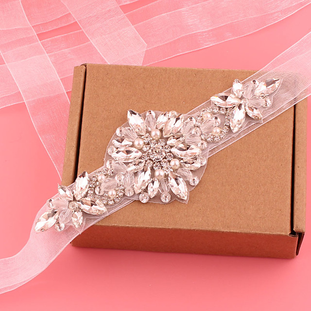 Satin / Tulle Wedding / Party / Evening Sash With Crystal / Imitation Pearl / Belt Women's Sashes / Appliques