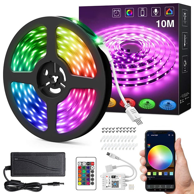 ZDM 32.8ft 10M 24V Intelligent Dimming App Control Flexible Led Strip Lights 5050 Waterproof RGB SMD 300 LEDs IR 24 Key Controller with Installation Package  Kit DC24V