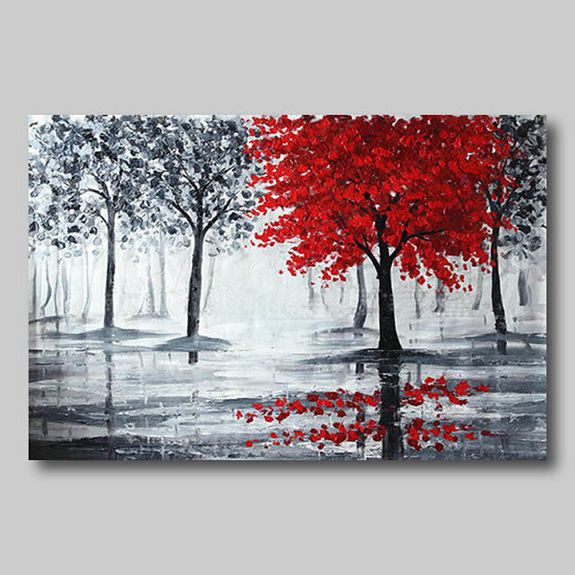 Oil Painting Hand Painted - Abstract Abstract Landscape Comtemporary Modern Roll Canvas Black Red