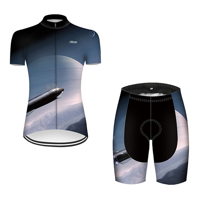 21Grams Women's Short Sleeve Cycling Jersey with Shorts Nylon Polyester Black / Blue 3D Gradient Rocket Bike Clothing Suit Breathable 3D Pad Quick Dry Ultraviolet Resistant Reflective Strips Sports 3D