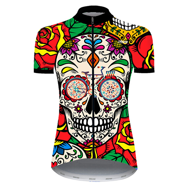 21Grams Women's Short Sleeve Cycling Jersey Nylon Polyester Red / Yellow Skull Floral Botanical Funny Bike Jersey Top Mountain Bike MTB Road Bike Cycling Breathable Quick Dry Ultraviolet Resistant