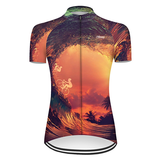 21Grams Women's Short Sleeve Cycling Jersey Nylon Polyester Black / Yellow 3D Gradient Bike Jersey Top Mountain Bike MTB Road Bike Cycling Breathable Quick Dry Ultraviolet Resistant Sports Clothing