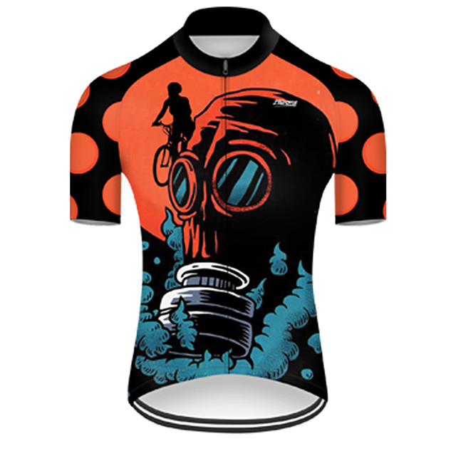 21Grams Men's Short Sleeve Cycling Jersey Nylon Polyester Black / Orange 3D Gradient Skull Bike Jersey Top Mountain Bike MTB Road Bike Cycling Breathable Quick Dry Ultraviolet Resistant Sports