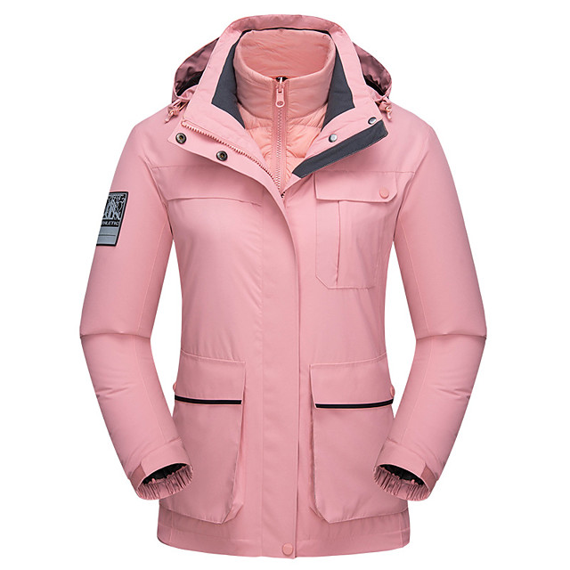 Wolfcavalry® Women's Hiking Jacket Winter Outdoor Waterproof Windproof Breathable Warm Top Full Length Hidden Zipper Hunting Fishing Climbing White / Black / Pink / Camping / Hiking / Caving