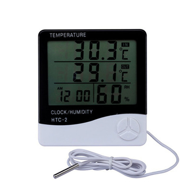 LCD Electronic Digital Temperature Humidity Meter Indoor Outdoor Thermometer Hygrometer Weather Station Clock HTC-2