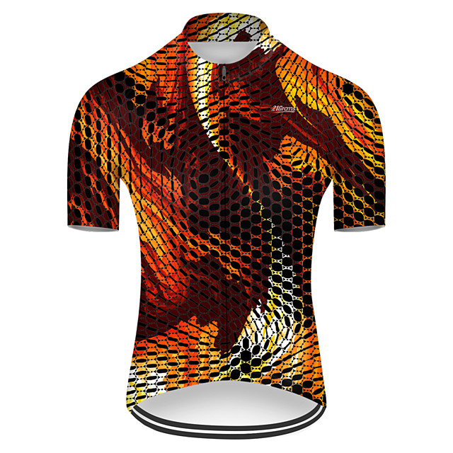 21Grams Men's Short Sleeve Cycling Jersey Nylon Polyester Orange Plaid Checkered 3D Gradient Bike Jersey Top Mountain Bike MTB Road Bike Cycling Breathable Quick Dry Ultraviolet Resistant Sports