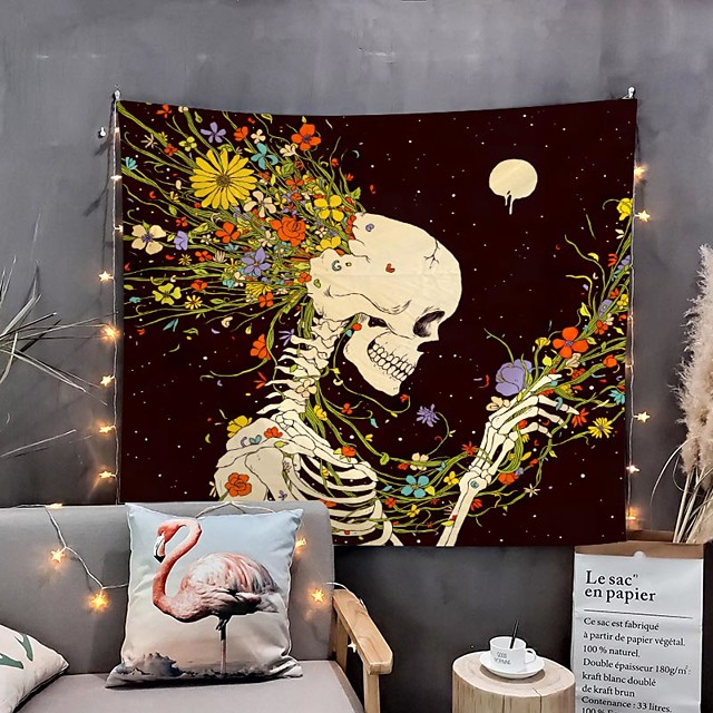 Home Living Tapestry Wall Hanging Tapestries Wall Blanket Wall Art Wall Decor Flower Skull Tapestry Wall Decor