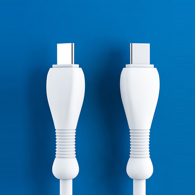 2Pcs Double-head male type-c high-speed transmission TPE data 3A cable suitable for Xiaomi/Samsung/Huawei