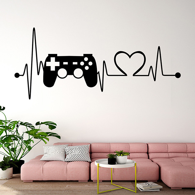ECG Game Handle Wall Stickers Plane Wall Stickers Decorative Wall Stickers PVC Home Decoration Wall Decal Wall Decoration 1pc
