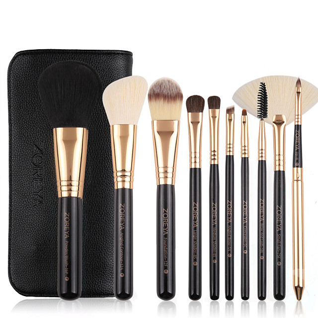 10pcs Synthetic Makeup Brushes Set Durable Wooden Handle Cosmetic Kit Concealer Powder Eye Shadow Fan Brushes For Make Up