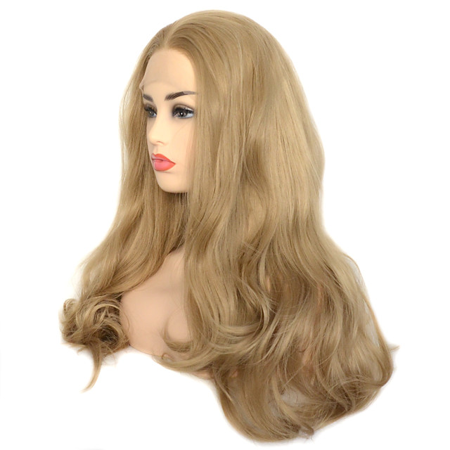 Dark Ash Blonde Natural Wave Synthetic Lace Front Wig Heat Resistant Fiber Daily Wearing For Women