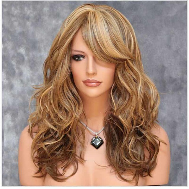 Synthetic Wig Curly Asymmetrical Wig Long Brown Synthetic Hair 24 inch Women's Highlighted / Balayage Hair curling Fluffy Brown