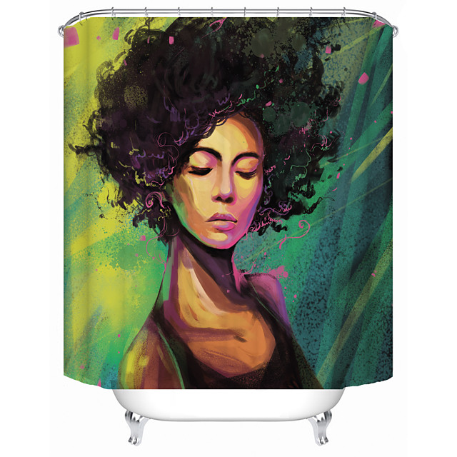 African Woman on Green Background Shower Curtains & Hooks Modern Polyester New Design