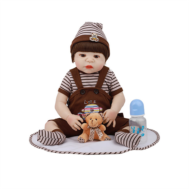 FeelWind 22 inch Reborn Doll Baby & Toddler Toy Reborn Toddler Doll Baby Boy Gift Cute Lovely Parent-Child Interaction Tipped and Sealed Nails Full Body Silicone LV003-55 with Clothes and Accessories