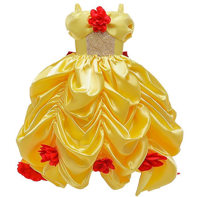 Princess Belle Dress Flower Girl Dress Girls' Movie Cosplay A-Line Slip Yellow Dress Carnival Children's Day Masquerade Polyester