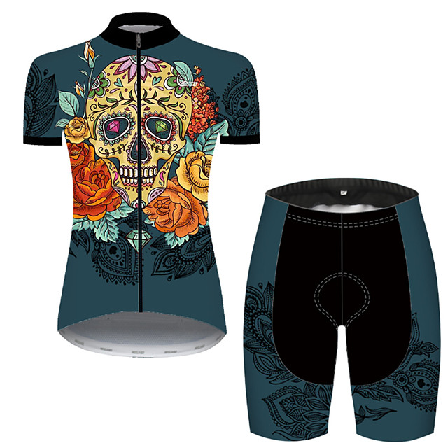 21Grams Women's Short Sleeve Cycling Jersey with Shorts Nylon Polyester Green / Yellow Skull Floral Botanical Funny Bike Clothing Suit Breathable 3D Pad Quick Dry Ultraviolet Resistant Reflective