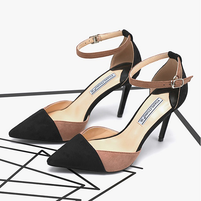 Women's Heels Summer Pumps Pointed Toe Daily Suede Pink / Gray