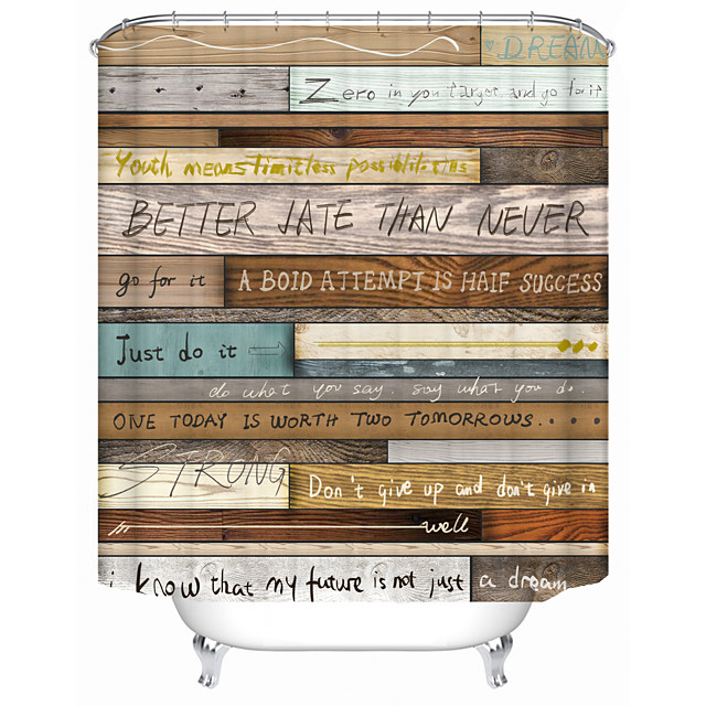 Quotes on old wooden boards Shower Curtains & Hooks Modern Polyester New Design