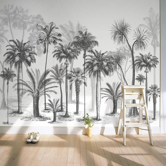 Custom Self-adhesive Mural Black and White Tree Picture Suitable for Background Wall Restaurant Bedroom Hotel Wall Decoration Art