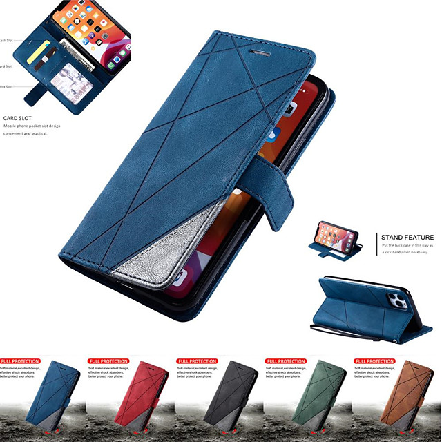 Leather Case For Samsung Galaxy A70 A50 A10 A20 A40 A51 A71 A81 A91 S20 S20Plus S20Ultra S10 S9 S8 Note 10 10Plus 9 8 Wallet Flip Cover Magnet Colorblock Phone Bag