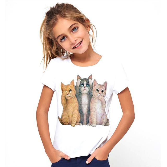 Kids Girls' T shirt Tee Short Sleeve Cat Animal Print White Children Tops Basic Cute