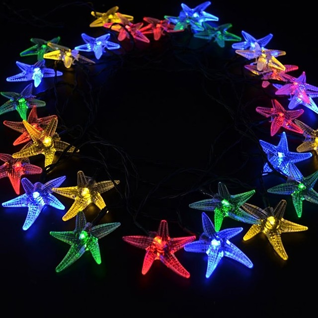 7M 30 LED Solar Starfish for Christmas Party Festival Indoor Outdoor Decoration
