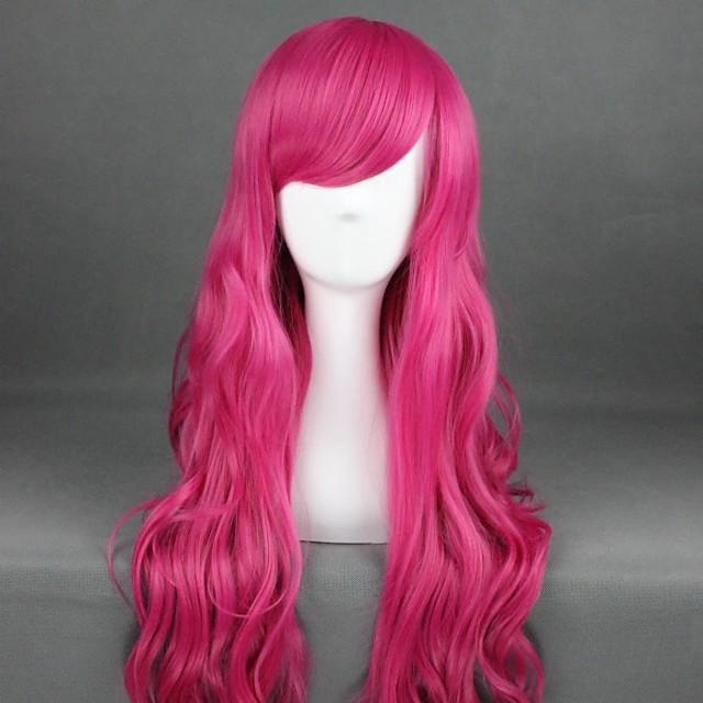 Cosplay Wig Lolita Curly Cosplay Halloween With Bangs Wig Long Watermelon Red Synthetic Hair 31 inch Women's Anime Cosplay Party Red