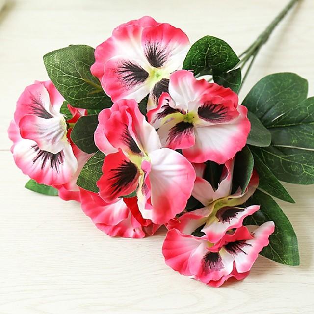 5 Fork Pansy Creative Home Decoration Silk Flower Artificial Flower Artificial Plant H26cm,Flower petal D7cm