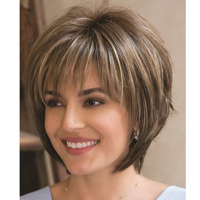 Synthetic Wig Natural Straight Asymmetrical Wig Short Flaxen Synthetic Hair 12 inch Women's Fashionable Design Party Brown