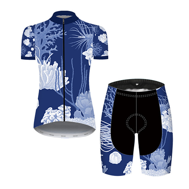 21Grams Women's Short Sleeve Cycling Jersey with Shorts Nylon Polyester Black / Blue Floral Botanical Bike Clothing Suit Breathable 3D Pad Quick Dry Ultraviolet Resistant Reflective Strips Sports