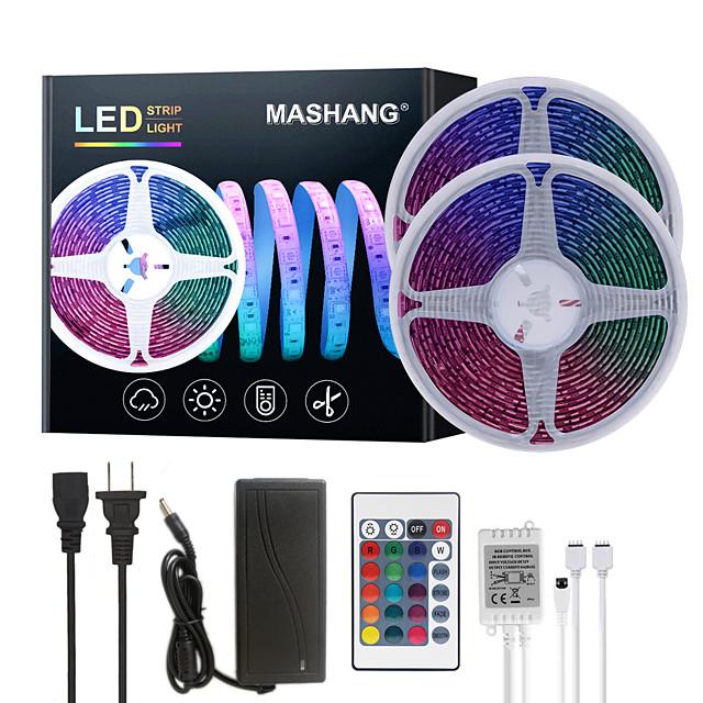 MASHANG 32.8ft 10M LED Strip Lights RGB Tiktok Lights Waterproof SMD 2835 600LEDs SMD 5050 with 24 Keys IR Remote Controller and 100-240V Adapter for Home Bedroom Kitchen TV Back Lights DIY Deco