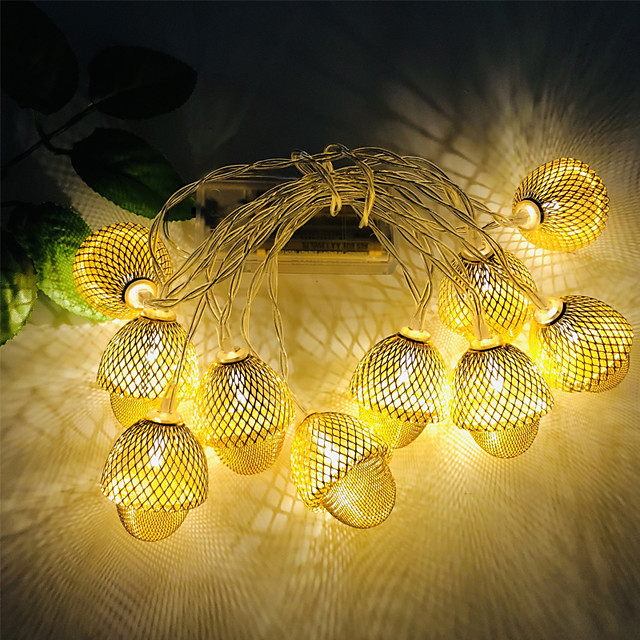 3M 20LEDs Creative Hazelnut Acorn LED String Light Three Section 5th Battery-Powered Fairy Lights Christmas Wedding Garden Party Family Party Room Decoration Pendant Without Battery