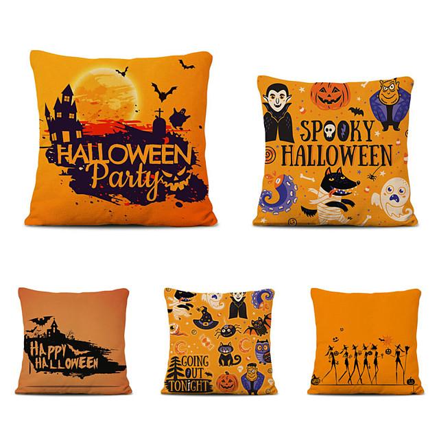 Set of 5 Throw Pillow Cases Sofa Cushion Covers Cartoon Halloween Linen Square Decorative