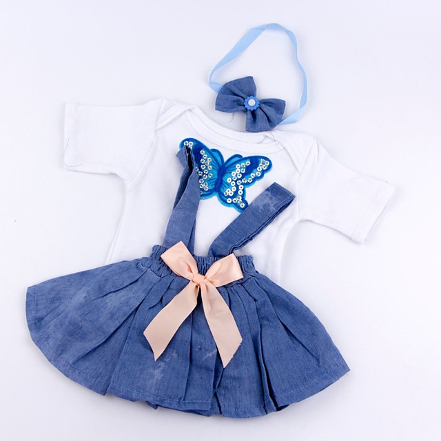 Reborn Baby Dolls Clothes Reborn Doll Accesories Cotton Fabric for 17-18 Inch Reborn Doll Not Include Reborn Doll Skirt Soft Pure Handmade Girls' 3 pcs