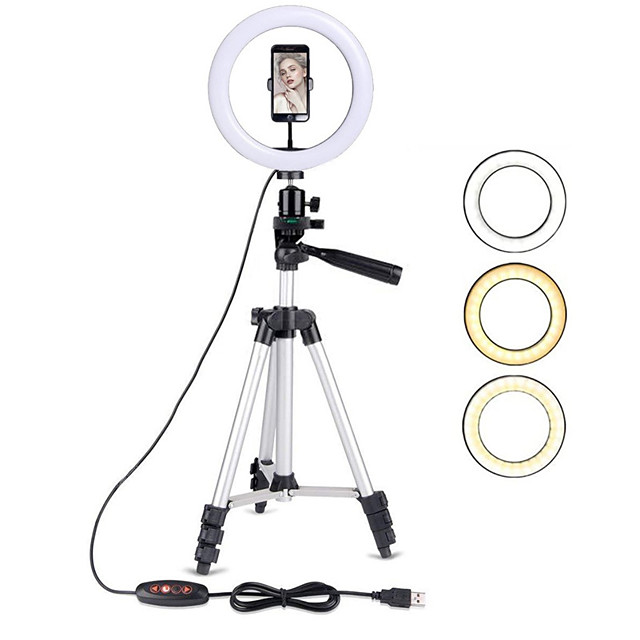 10IN LED Ring Light with Stand LED Camera Selfie Light Ring for iPhone Tripod and Phone Holder for Video Photography