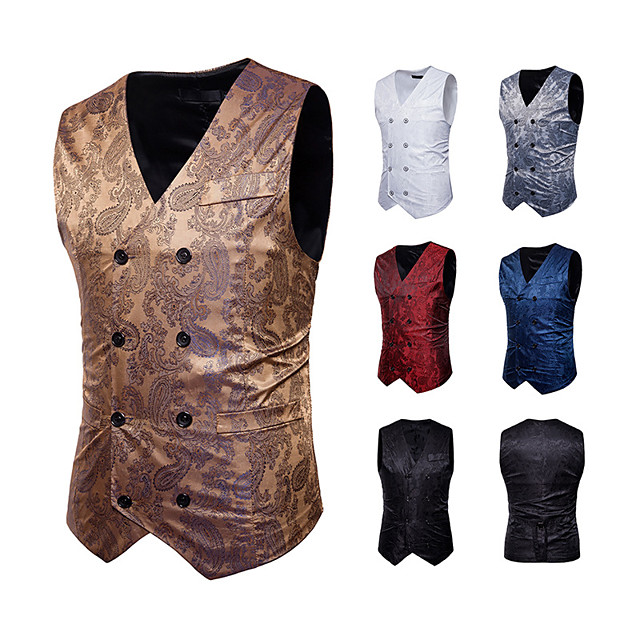 Plague Doctor Vintage Gothic Steampunk Masquerade Vest Waistcoat Men's Jacquard Costume Golden / White / Black Vintage Cosplay Event / Party Sleeveless