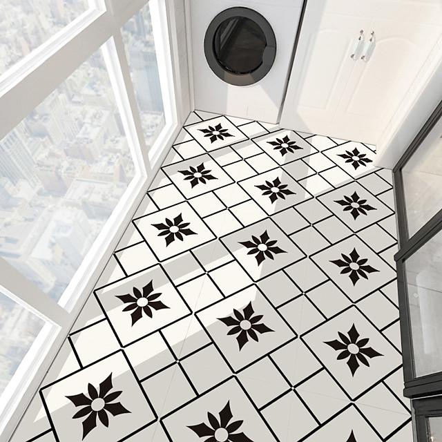 PVC antiskid twill printing black flower splicing paste bathroom bedroom living room DIY floor paste