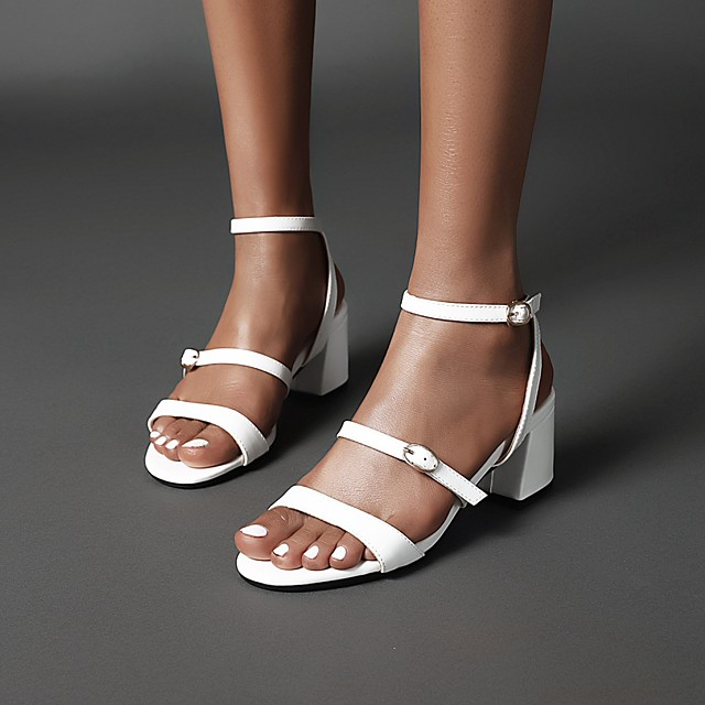 Women's Sandals 2020 Summer Block Heel Open Toe Preppy Minimalism Daily Buckle Solid Colored PU Almond / White / Black
