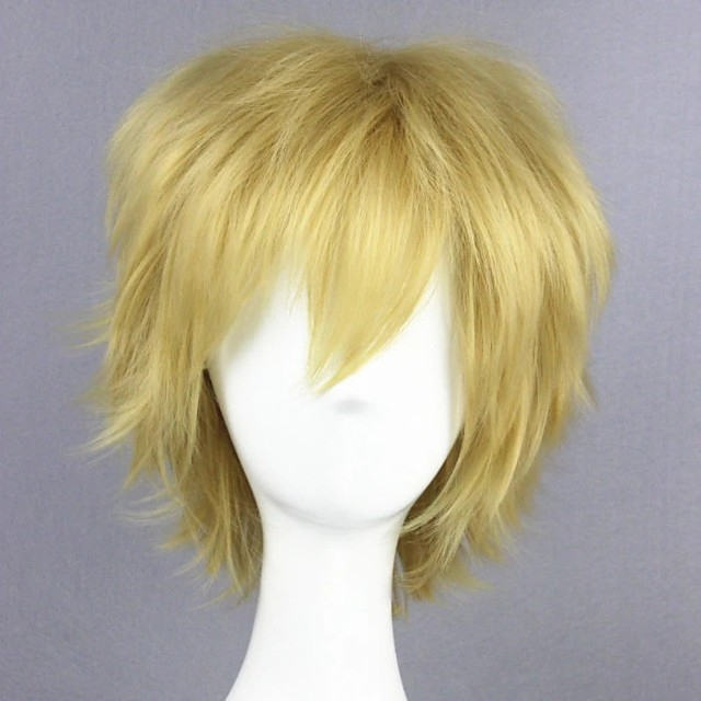 Cosplay Wig Kano Syuya Kagerou Project Curly Cosplay Halloween With Bangs Wig Short Blonde Synthetic Hair 14 inch Men's Anime Cosplay Cool Red Blonde