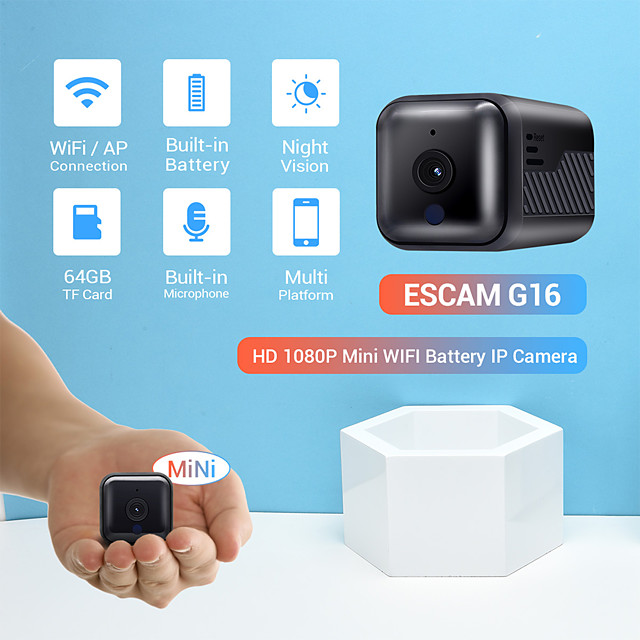 ESCAM G16 HD 1080P 2.8mm Lens Mini WIFI/APP Mode Connection Battery 6PCS IR LEDs Night Vision Motion Detection Battery Built-in Microphone Camera With Audio Support 64GB TF Card