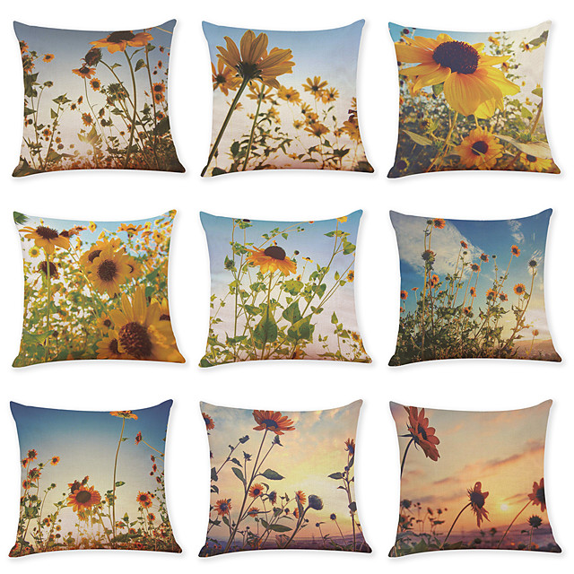9 pcs Linen Pillow Cover, Sunflower Casual Modern Square Traditional Classic