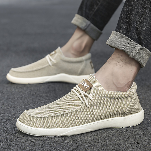 Men's Summer Classic / Preppy Daily Outdoor Sneakers Walking Shoes Canvas Breathable Wear Proof Beige / Gray