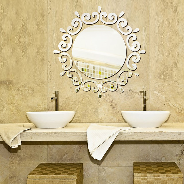 Lace Circle / 3D Wall Stickers Mirror Wall Stickers Decorative Wall Stickers Vinyl Home Decoration Wall Decal Wall Decoration 1 / Removable