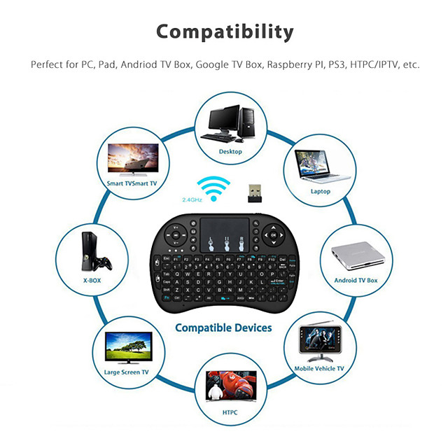 2.4G Wireless Mini Keyboard with Touch Pad Remote Control for PC Laptop Android TV Box Smart TV for Raspberry Pi 4 Model B 3B 2B