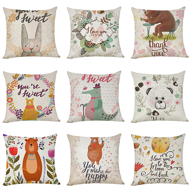 9 pcs Linen Pillow Cover, Cartoon Pastoral Animals Casual Modern Square Traditional Classic