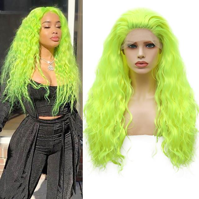 Syntetisk Lace Front Parykker Bølget Gratis del Blonde Front Paryk Lang fluorescerende grønt Syntetisk hår 18-26 inch Dame Cosplay Blød Justerbar Grøn