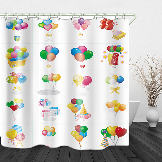 Colorful Romantic Balloons Digital Print Waterproof Fabric Shower Curtain for Bathroom Home Decor Covered Bathtub Curtains Liner Includes with Hooks