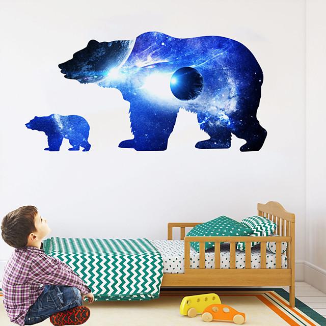 Cosmic Starry Sky Planet Bear Silhouette Wall Stickers Animal Wall Stickers Decorative Wall Stickers PVC Home Decoration Wall Decal Wall Decoration 1pc